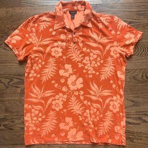 Express Floral Hawaiian Polo Shirt • size XL